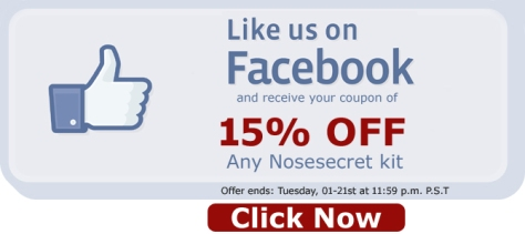 Nosesecret Facebook Like Us 15% Off Kits