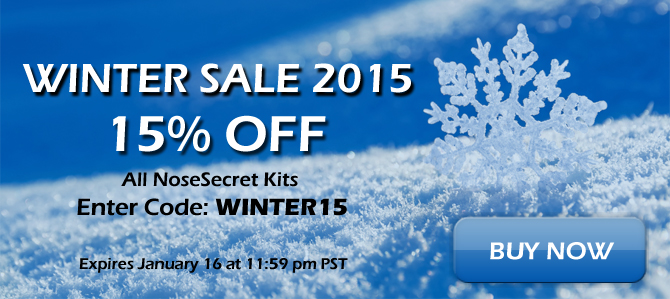 NoseSecret Winter Sale 2015 - 15% Off all kits - Enter code: WINTER15 - Ends Jan 16